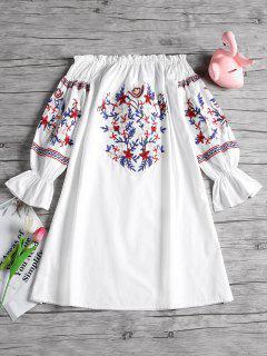 Schulterfrei Rüschen Floral Patched Kleid - Weiß L