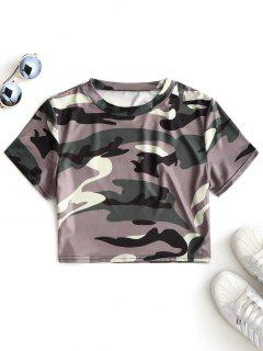 Cutout Camouflage Cropped Top - Army Green L