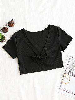 Ribbed Bowknot Cut Out Top - Black L