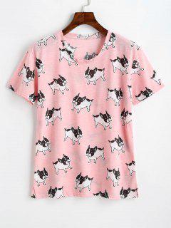 Camiseta De Cuello Redondo Con Estampado De Perro - Rosado