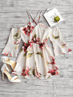 Floral Print Flare Sleeve Cami Romper - Floral L
