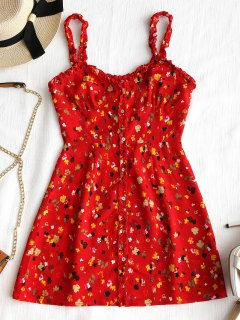 Mini Robe Florale Boutonnée à Volant - Rouge M