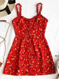 Mini Robe Florale Boutonnée à Volant - Rouge L