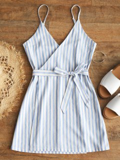 Belted Wrap Stripes Mini Dress - Light Blue S