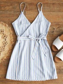 Belted Wrap Stripes Mini Dress - Light Blue S