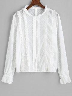 Applique Back Button Frilled Blouse - White S
