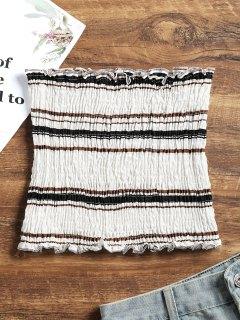 Smocked Stripes Tube Top - Black S