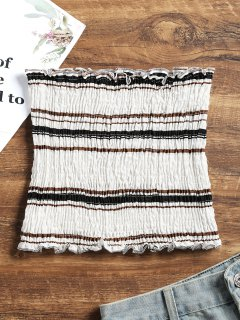 Smocked Stripes Tube Top - Black M