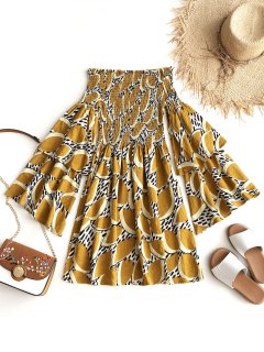 Leaves Off Shoulder Shirred Mini Dress - Mustard Xl