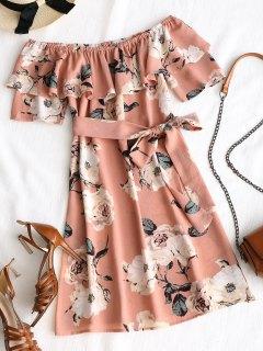 Mini Robe Florale à Volant à Épaules Dénudées - Rose PÂle S