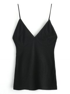 Cropped Knitted Spaghetti Straps Tank Top - Black