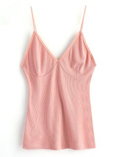 Cropped Knitted Spaghetti Straps Tank Top - Pink