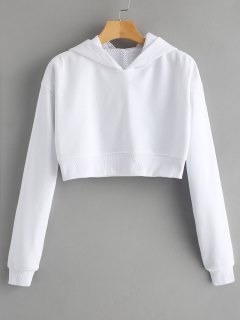Cropped Eyelet Figure Patch Hoodie - White S
