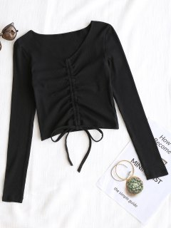 Knitted Gathered Ribbed Top - Black S