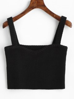 Knitted Cropped Ribbed Tank Top - Black M