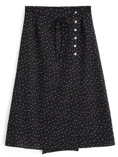 Polka Dot Side Button A Line Skirt - Balck L