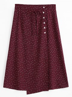 Polka Dot Side Button A Line Skirt - Wine Red M