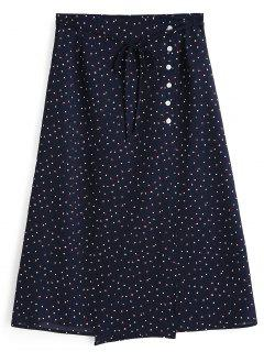 Polka Dot Side Button A Line Skirt - Purplish Blue M