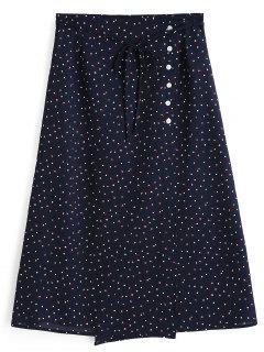 Polka Dot Side Button A Line Skirt - Purplish Blue S