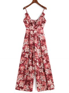 Floral Cut Out Ruffle Jumpsuit - Deep Red M