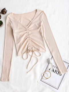 Knitted Gathered Ribbed Top - Apricot M