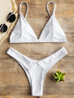 Padded Swim Bra And High Cut Thong Bottoms - White S