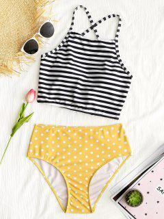 Stripe Polka Dot High Neck Bikini Set - Yellow M