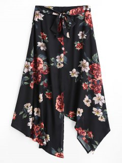 Floral Asymmetrical Slit Maxi Skirt - Black L