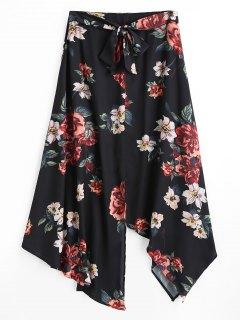 Jupe Longue Fendue Asymétrique Florale - Noir L