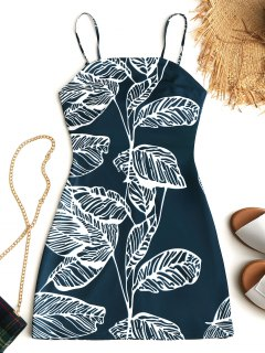Tied Tropical Cut Out Mini Dress - Malachite Green M
