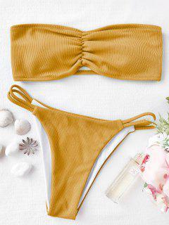Conjunto De Bikini Palabra De Honor Acanalado - Amarillo L