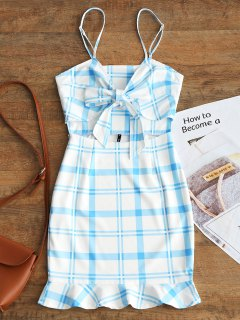Cut Out Bowknot Plaid Mini Dress - Light Blue M