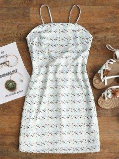 Tied Printed Cut Out Mini Dress - Light Apricot L