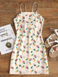 Mini Vestido Estampado Cortado Atado - Rosa Beige  S