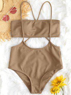 Bandeau Top And High Waisted Slip Bikini Bottoms - Camel L