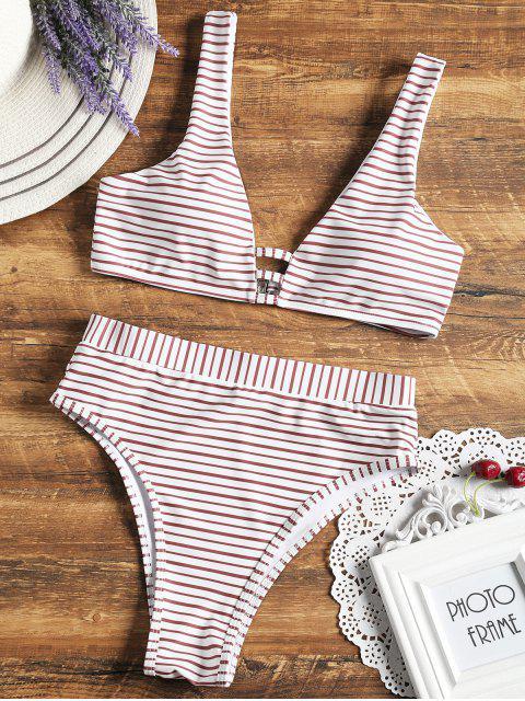 hot High Cut Striped Bikini Set - WHITE M Mobile
