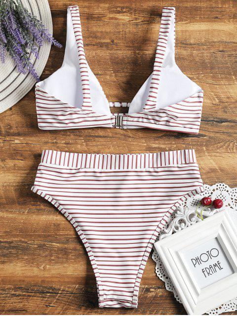 outfit High Cut Striped Bikini Set - WHITE S Mobile