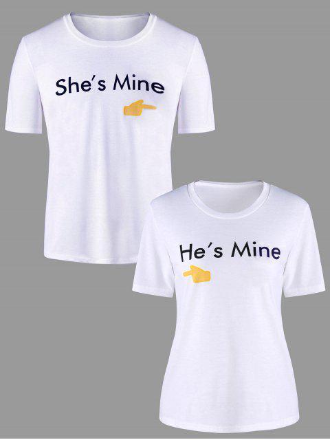 Grafik Druck Passende Paar T-Shirt - Weiß Männer 2XL Mobile