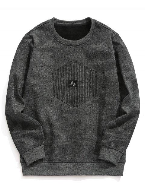 Sweat-shirt Camouflage Texturé à Doublure en Molleton - Gris 4XL Mobile
