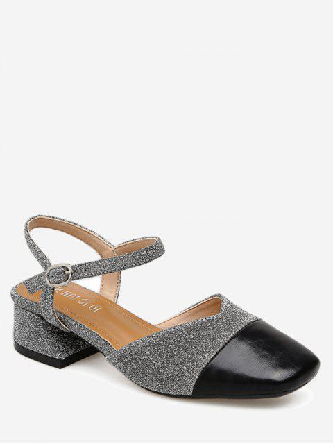hot Sequined Cloth Block Heel Pumps - SILVER 37 Mobile