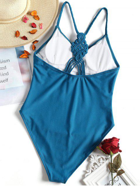 trendy Plaited High Cut One Piece Swimsuit - BLUE S Mobile