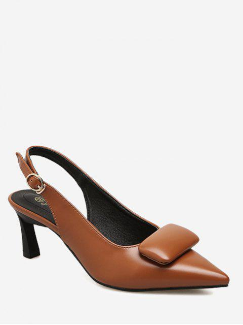 fashion Point Toe Slingback Pumps - BROWN 37 Mobile