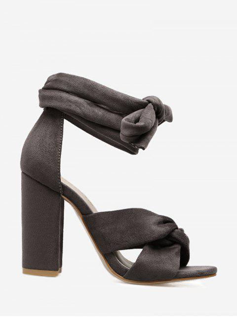 chic Twist Front Lace Up Sandals - GRAY 39 Mobile