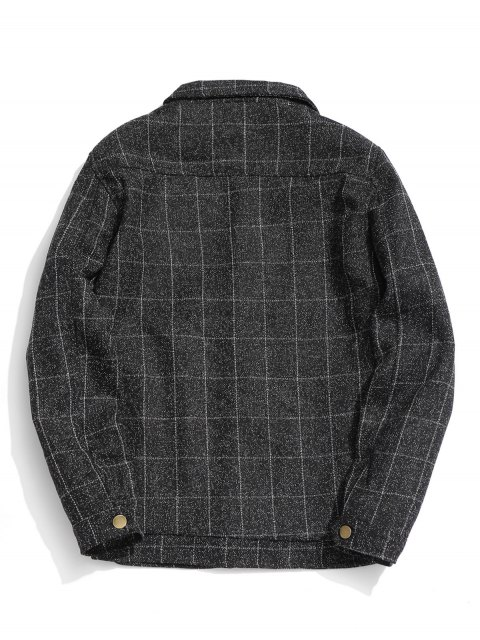 affordable Graphic Pocket Checked Jacket - BLACK XL Mobile