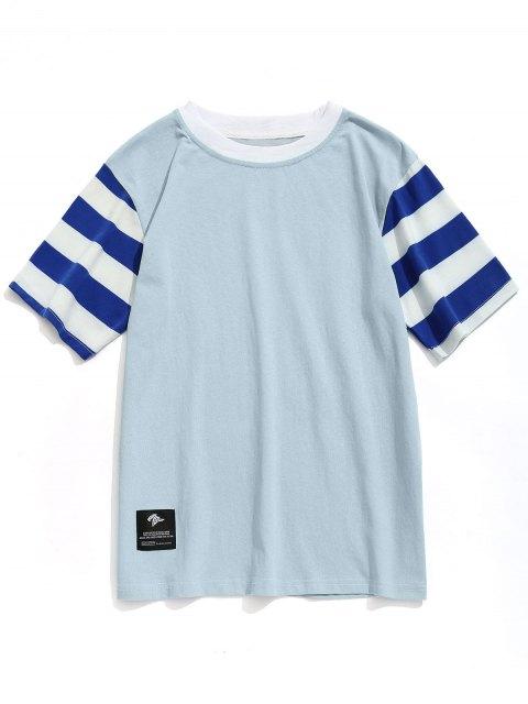 latest Stripe Sleeves Crew Neck T-shirt - BLUE GRAY L Mobile