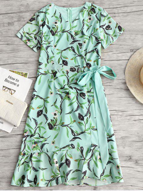 lady Floral Print Ruffles Asymmetric Belted Dress - LIGHT GREEN M Mobile
