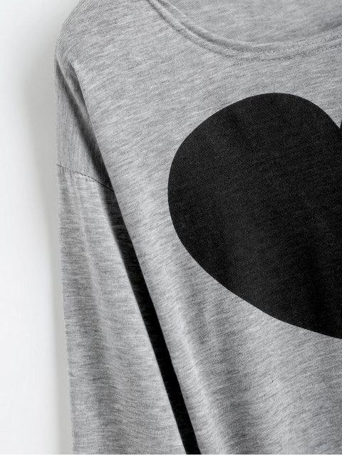 outfit Heart Print Long Sleeve Tee - GRAY XL Mobile