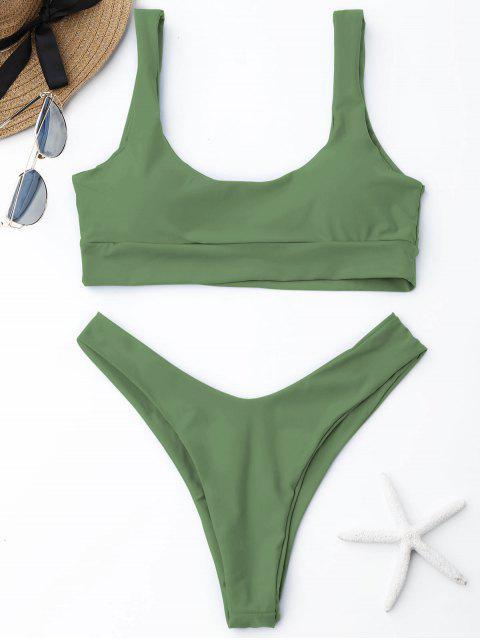 women Scooped High Cut Bikini Set - PEA GREEN M Mobile