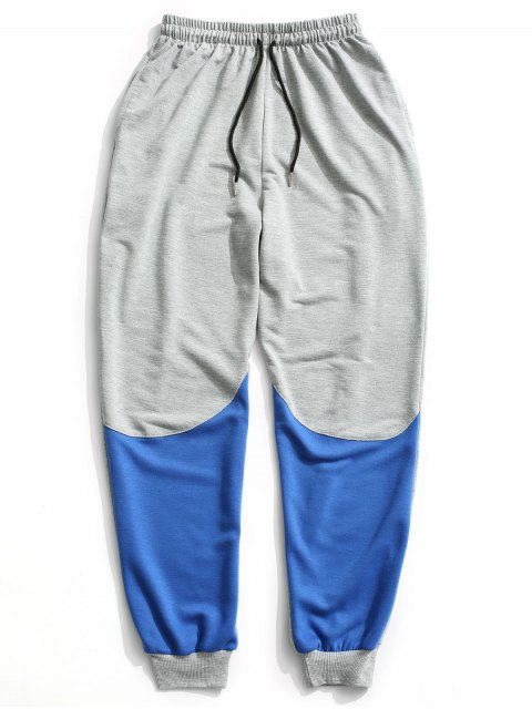 Farbblock Kordelzug Sweatpants - Grau 2XL Mobile