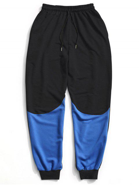 women's Color Block Drawstring Sweatpants - BLACK L Mobile